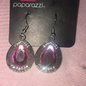 Beautiful Pink Silvertone Earrings